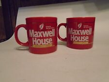 Maxwell House Instant Coffee Red cup gold trim Made in England Set of 2