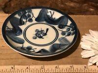 "Asian Porcelain Blue & White Saucer 5 1/8"" Marked"