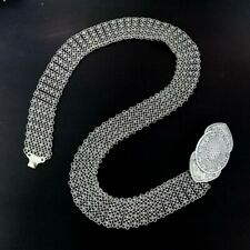 "40 "" Thai Silver Plated Belt Vintage Style Chain Link Costume Women Fashion"