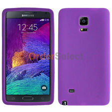 Soft Slim Rubber Gel Case Skin for Android Phone Samsung Galaxy Note 4 Purple