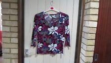 Bianca pink purple grey and white flowery top size 34 inch chest-3/4 sleeves