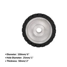 "6"" Rubber Serrated Sand Belt Grinder Polishing Contact Wheels Polisher 1"" Hole"