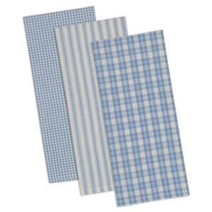 Design Imports DUSK BLUE CLASSIC Cotton Dish Towels Set of 3