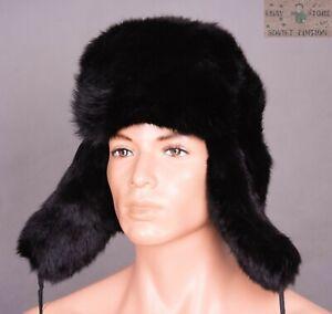Original Russian Ushanka winter hat cap Natural rabbit fur Size 56-64cm (7-8 US)