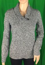 Karen Scott Black White Sweater V-Neck Collared Long Sleeve Size Medium Petites