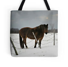 Horse in Winter ~ TOTE BAG w/Exclusive Equine Design ~ Evocative Functional Art