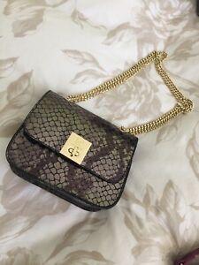Pierre Cardin Pewter Leather Shoulder Bag