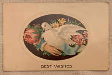 Vintage Embossed Postcard Best Wishes, Dove With Rose, Flowers