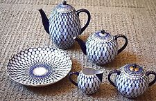 Russian Lomonosov Cobalt Blue Net Coffee & Tea Service Set 24k Gold Embellished