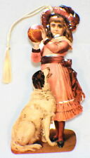 Victorian Paper Bookmark With String Tassel Little Girl With Ball & Puppy Dog