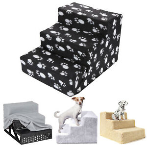 3 Steps Washable Folding Portable Stairs Doggy Puppy Pet Dog Cover Ramp Ladder