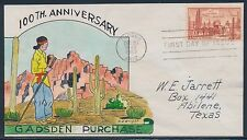 """#1028-31 """"GADSDEN PURCHASE"""" ON FDC HAND PAINTED WRIGHT CACHET BT858"""