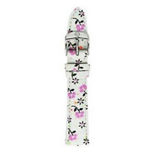 MICHELE 16mm Gia Floral Leather Watch Band White w/Pink Flowers; Pouch NWT $120