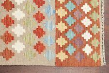 Flat-Woven Geometric 10 ft Turkish Kilim Rug Runner Hand-Woven Oriental 3'x10'