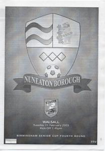Saddlers : Birmingham Senior Cup - Nuneaton Borough v Walsall 2003 2002/03