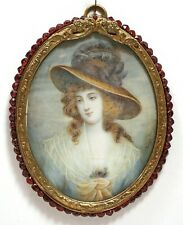 Antique 19th C. MINIATURE Portrait of LADY Gainsborough Style GARNET BEAD frame