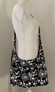 Thirty One Inside Out Reversible Crossbody Hobo Tote, Black/White Floral & Pink