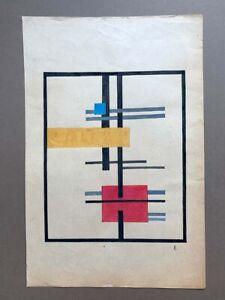 Lajos Von Ebneth avante garde Constructivist rare original gouache drawing 1920s