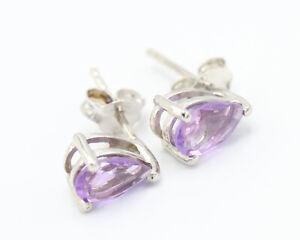 Sterling Silver Teardrop Earrings with Amethyst, TGGC 925