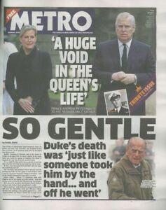The Metro Newspaper; Prince Philip Tribute, Duke of Edinburgh 12/04/2021