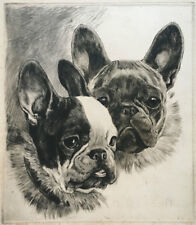 Kurt Meyer-Eberhardt Etching of French Bulldogs