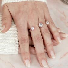 925 STERLING SILVER FINE  LADIES TWO-FINGER OPEN  RING W/ DIAMONDS/SIZE 5,7,9