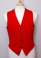 "Unbranded men's vintage scarlet red pure wool doeskin waistcoat vest 36"" 92cm"