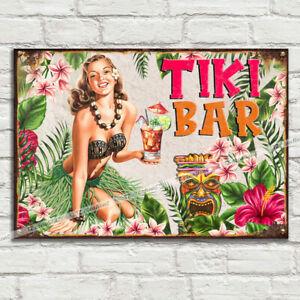 TIKI BAR Girl Garden Metal Tin Plaque Sign Man Cave Pub Club Cafe Beer Rum Gin