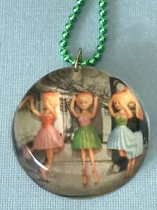 "Handmade Artisan OOAK Round Resin 60s Vintage Doll Image Charm on 23"" Bead Chain"