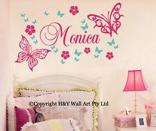 Butterfly Flowers Custom Personalised Name Wall Stickers Kid Girls Nursery Decor