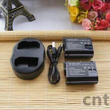 2 EN-EL15 ENEL15 EN-EL15A  Batteries + USB DUAL Charger for Nikon DSLR Camera