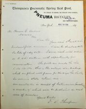 Bicycle 1898 Letterhead: Thompson's Pneumatic Spring Seat Post & Pneuma Cycles