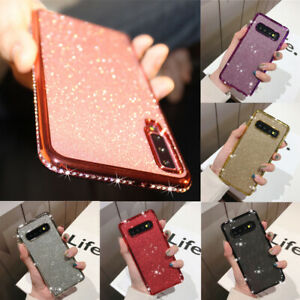 For Samsung S21 S20 S10 A21s A12 A71 Case Glitter Diamond Plating Silicone Cover