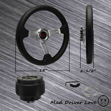 "FOR 1990-1993 HONDA ACCORD SILVER 13"" PVC LEATHER STEERING WHEEL+HUB ADAPTER"