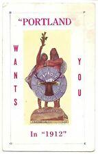 Rare Postcard Portland Wants You in 1912 Oregon B.P.O.E. Elks Grand Reunion
