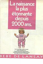 publicité advertising  2000    LANSAY jouets poupée Bébé