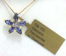 GENUINE 1.25 Cts TANZANITE & DIAMOND NECKLACE 10k Yellow Gold  **Free Shipping**