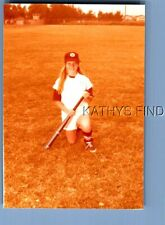 Found Color Photo G+6703 Teen Girl In Baseball Uniform Kneeling Holding Bat