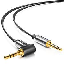 deleyCON 1m Klinken Kabel Flachkabel Klinke zu Klinke 90° abgewinkelt Schwarz