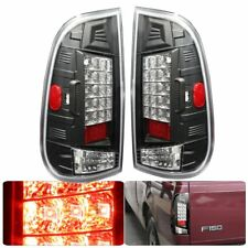 Black Housing Clear Lens Rear Lamp Pair For 1997-2003 Ford F-150 Tail Light Led