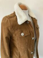 Girls Age 11 Yrs River Island Brown Corduroy Faux Sheepskin Collar Denim Jacket