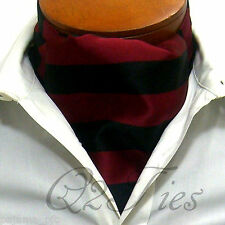 MEN'S BURGUNDY BLACK Stripes Slipknot Style Casual Ascot Cravat Formal Wedding
