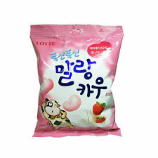 LOTTE Malang Cow Soft Strawberry Milk Chew-able Candy Marshmallow 158g NEW noo