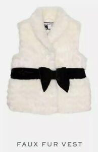Janie And Jack Kids Faux Fur White Vest Christmas Size 5-6
