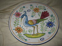 "Labor Deruta Italy Hand Painted Majolica 10"" Multi Color Bird Wall Plate"