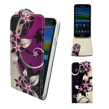 Case For Samsung Galaxy S5 Purple Cream Flower Flip PU Leather Pouch Phone Cover