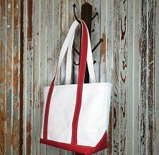 LL BEAN Boat & Tote Medium Tote Bag w/Zipper Red Trim Stiff Canvas USA Made Nice