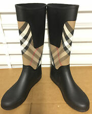Burberry Check Panel Clemence Rubber Rain Boots Housecheck US 8 EU 38 UK 6 New