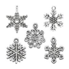 50 Gift Mixed Silver Tone Christmas Snowflake Charm Pendants S2L6