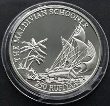 250 Rufiyaa 1990 Malediven🇲🇻 Maldivian Schooner•31,47 g-Ag.925 PROOF in Kapsel